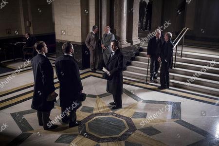 Jeremy Piven as Harry Selfridge, Aidan McArdle as Lord Loxley and Greg Austin as Gordon Selfridge.