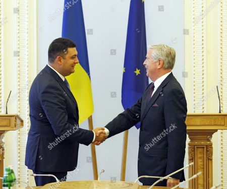 Stock Picture of The speaker of Ukrainian parliament, Volodymyr Groisman, and former President of the European Parliament Pat Cox