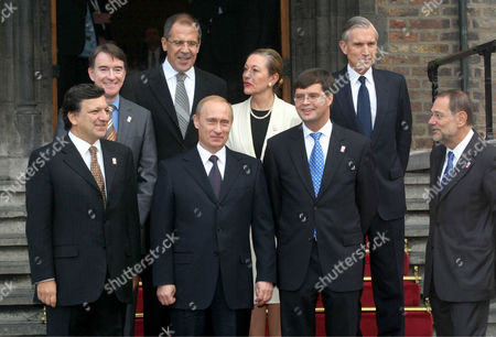 Jose Manuel Durao Barroso, Peter Mandelson, Vladimir Putin and Jan Peter Balkenende, Javier Solana