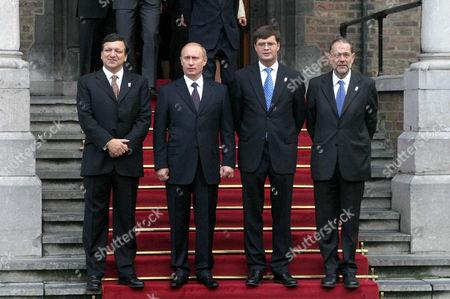 Jose Manuel Durao Barroso, Vladimir Putin and Jan Peter Balkenende, Javier Solana