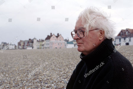 John Amis, writer and broadcaster on the beach at Aldeburgh. Among many things he was on the BBC radio programme, 'My Music', from 1974-1993 with Frank Muir, Denis Norden and Ian Wallace.