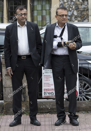 Ashok Hindocha and Vinod Hindocha arrive at the North London Coroner's Court