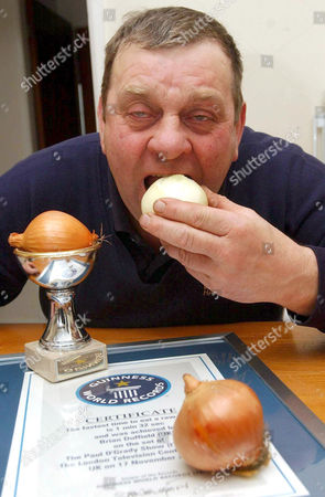 Stock Image of 60 Year old Brian Duffield, who holds the world record for eating a raw onion in I minute 32 seconds