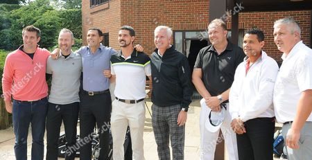 Julian Speroni poses for photos with the likes of Alan Pardew, Shaun Derry, Gus Poyet, Alan Lee, John Salako and Andy Woodman during the Julian Speroni Testimonial Golf Day at the Surrey National Golf Club, Chaldon
