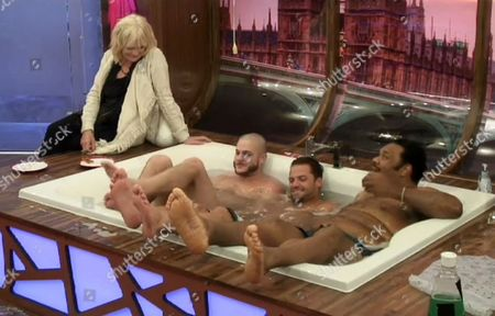 Sherrie Hewson sites with Austin Armacost, James Hill and FatMan Scoop as they share a bath