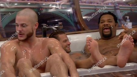 Austin Armacost, James Hill and FatMan Scoop share a bath