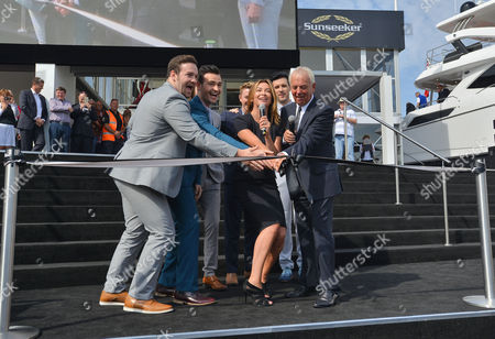 Stock Picture of Suzi Perry, Collabro and Sunseeker's Robert Braithwaite CBE cut the ribbon to open the show