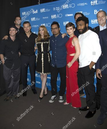(L-R) Andy Weir, Drew Goddard, Matt Damon, Jessica Chastain, Michael Pena, Kate Mara, Donald Glover and Jeff Daniels