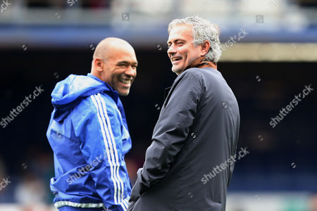 Chelsea Manager Jose Mourinho laughs with Jose Morias ahead of the Barclays Premier League clash match between Everton and Chelsea, at Goodison Park, Liverpool