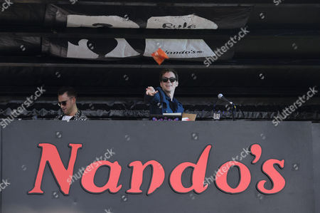 Stock Photo of Jackmaster and Artwork performed a back to back DJ set on top of the Nandos Cock o'Van at Bestival.