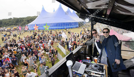 Stock Picture of Jackmaster and Artwork performed a back to back DJ set on top of the Nandos Cock o'Van at Bestival.