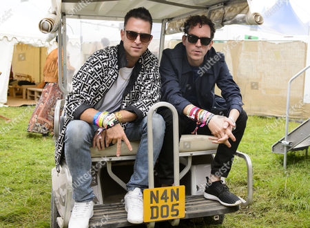 Stock Picture of Jackmaster and Artwork backstage at the Nando's Cock o'Van at Bestival