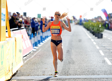 Gemma Steel crosses the line to finish second during the Morrisons Great North Run 2015 at South Shields