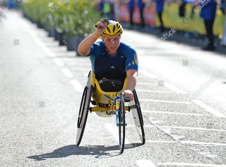 Stock Picture of Shelly Woods celebrates as she wins the Womens Wheelchair Race during the Morrisons Great North Run 2015 at South Shields
