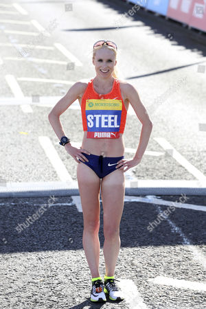 Gemma Steel finishes in 2nd place in women's elite race at the Great North Run, in South Shields, England. The Great North Run is an annual half-marathon.