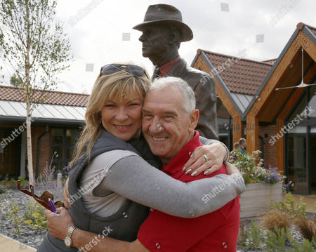 Jack Berry Statue CORONATION STREET STAR CLAIR KING MEETS JACK BERRY (Injured Jockey Fund) at his newley opened JACK BERRY HOUSE (for the rehabilitation of Injured Jockeys) ON MALTON OPEN DAY 2015