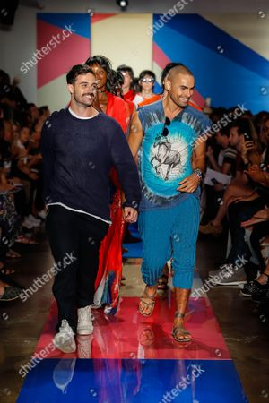 Designers Scott Studenberg and John Targon on the catwalk