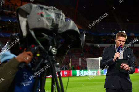 BT Sport presenter Jake Humphries during the UEFA Champions League Group B match between PSV Eindhoven and Manchester United played at The Philips Stadion, Eindhoven