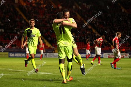 Harry Bunn of Huddersfield Town celebrates his goal with Ishmael Miller of Huddersfield Town