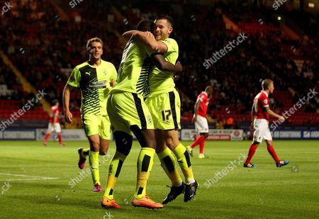 Harry Bunn of Huddersfield Town celebrates scoring with Ishmael Miller of Huddersfield Town