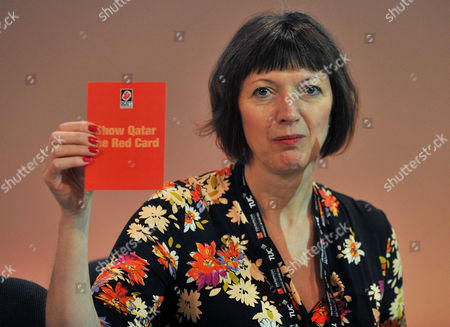 TUC Congress At BT Convention Centre Liverpool Merseyside. - TUC Congress Delegates Show Their Solidarity Against Working Conditions In Qatar. Pictured TUC Gen. Sec. Frances O'grady.Eccles - 10/9/14.