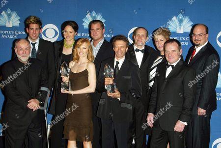 Cast of CSI : Crime Scene Investigation Top row: Eric Szmanda, Jorja Fox, George Eads, unknown, unknown, unknown, Bottom row: Robert David Hall, Marg Helgenberger, Gary Dourdan and Paul Guilfoyle