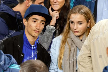 Stock Photo of Jose Mario Mourinho Jr the son of Chelsea Manager Jose Mourinho with a girlfriend during the UEFA Champions League match between Chelsea and Maccabi Tel Aviv played at Stamford Bridge Stadium, London