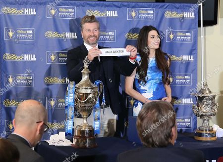 Stock Photo of Robbie Savage with Miss Scotland Mhairi Ferguson -William Hill Ayr Gold Cup draw at Ayr