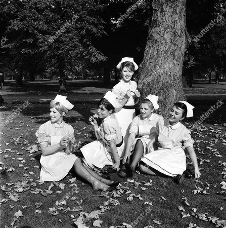 L-R SHEILA FEARN, HARRIET HARPER, TRICIA MONEY, JANE ROSSINGTON AND MAJNI BIRO IN 'EMERGENCY WARD 10' - 1963