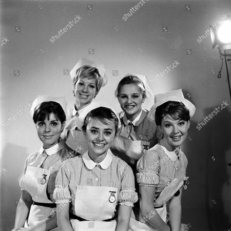 BACK ROW L-R SHEILA FEARN, JANE ROSSINGTON FRONT ROW L-R HARRIET HARPER, MAJNI BIRO, TRICIA MONEY IN 'EMERGENCY WARD 10' 1963