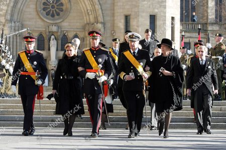 Prince Guillaume with Grand Duchess Maria Teresa and Grand Duke Henri, King Albert and Queen Paola