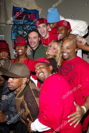 David La Chapelle and Pamela Anderson with guests at a party for the film 'Rize'
