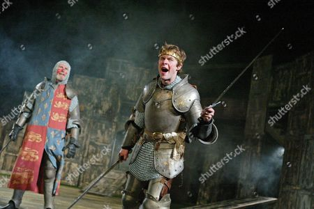 'Henry IV' play at The Open Air Theatre - Christopher Godwin (Henry) and Jordan Frieda (Hal)