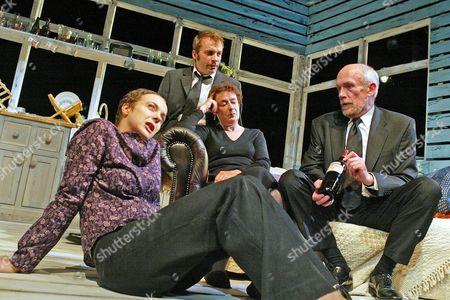 'Love Me Tonight' play at The Hampstead Theatre - Amanda Abbington (Sian), Linda Bassett (Moira), NicolasTennant (Stuart) and Hugh Ross (Roy)