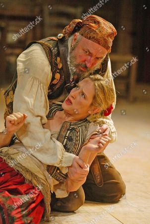 'Pedro, The Great Pretender' play - Royal Shakespeare Company - Claire Cox (Blelica) and John Stahl (Maldonado)
