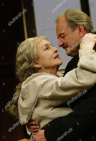 Stock Picture of 'The Old Masters' play at the Comedy Theatre - Barbara Jefford (Mary) and Peter Bowles (Joseph)