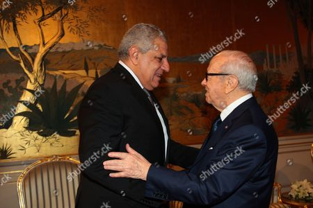 Editorial picture of Tunisian President Beji Caid Essebsi greets Ibrahim Mahlab, Carthage Palace, Tunisia - 09 Sep 2015