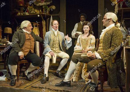 Stock Image of Simon Russell Beale as Mr Foote, Ian Kelly as Prince George, Micah Balfour as Frank, Dervla Kirwan as Peg, Joseph Millson as Garrick