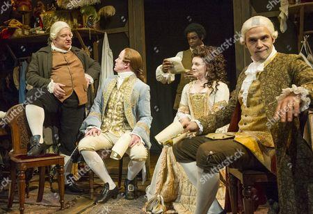 Stock Photo of Simon Russell Beale as Mr Foote, Ian Kelly as Prince George, Micah Balfour as Frank, Dervla Kirwan as Peg, Joseph Millson as Garrick