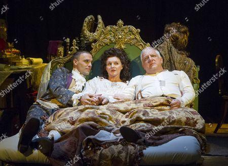 Joseph Millson as Garrick, Dervla Kirwan as Peg, Simon Russell Beale as Mr Foote,