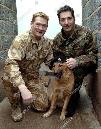 DAUNCEY THE RESCUED DOG FROM IRAQ WITH CAPTAIN CHARLIE BRUNSKILL AND CAPTAIN JOFF DAINTRY.