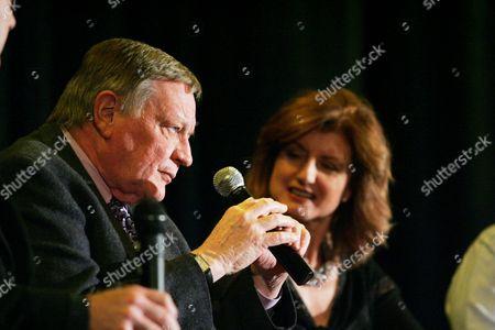 Richard Schickel and Arianna Huffington