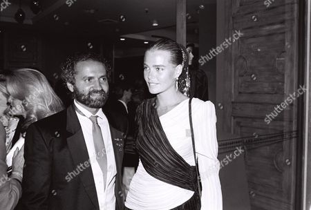 Stock Image of Gianni Versace and Margaux Hemingway