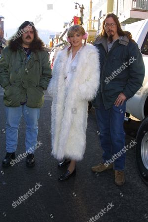 """(From left to right) Mark Borchardt, Robert Stephens and Mike Schank promoting the film """"Britney Baby...One More Time"""" on Main Street at the 2002 Sundance Film Festival on January 16, 2002.  Park City, UT  Photo® Matt Baron/BEI"""