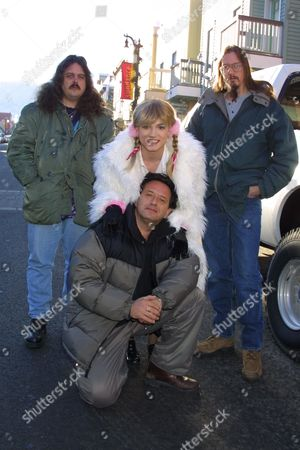 "(From left to right, top row) Mark Borchardt, Robert Stephens and Mike Schank (bottom) director Ludi Boeken promoting the film ""Britney Baby...One More Time"" on Main Street at the 2002 Sundance Film Festival on January 16, 2002.