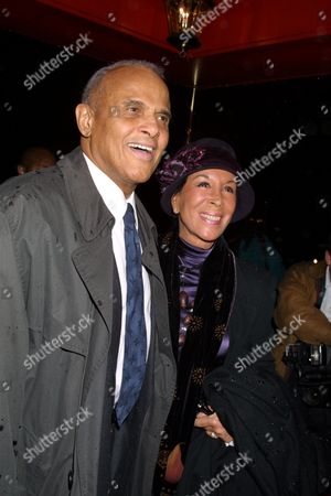 Harry Belafonte and wife Julie Robinson arriving to the 2002 New York Film Critics Circle Awards at The Russian Tea Room in New York City on January 6, 2002.