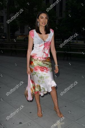 Model Ahn Duong arriving to the launch party for the 1st Annual Tribeca Film Festival hosted by Vanity Fair Magazine at the State Supreme Courthouse in New York City on May 7, 2002. (She is wearing Roberto Cavali).