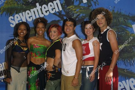 """""""American Idol"""" finalists (from left to right) Christina Christian, Tamyra Gray, Nikki McKibbin, R.J. Helton, Kelly Clarkson and Justin Guarini at the 2002 Teen Choice Awards at the Universal City Amphitheatre in Universal City, California on August 4, 2002.  Universal City, California  Photo® Matt Baron/BEImages.net"""