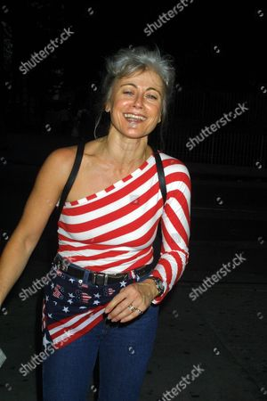 "Broadway actress Louise Pitre, star of the upcoming musical ""Mama Mia"", walks on Ninth Avenue in New York City on September 21, 2001.