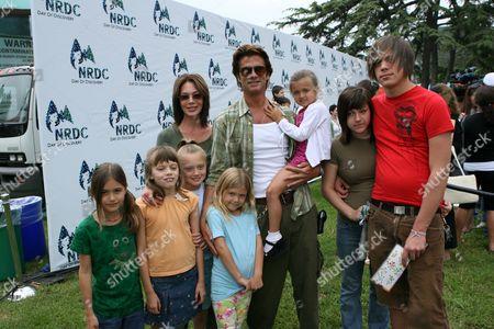 Stock Photo of Hunter Tylo, Lorenzo Lamas and children